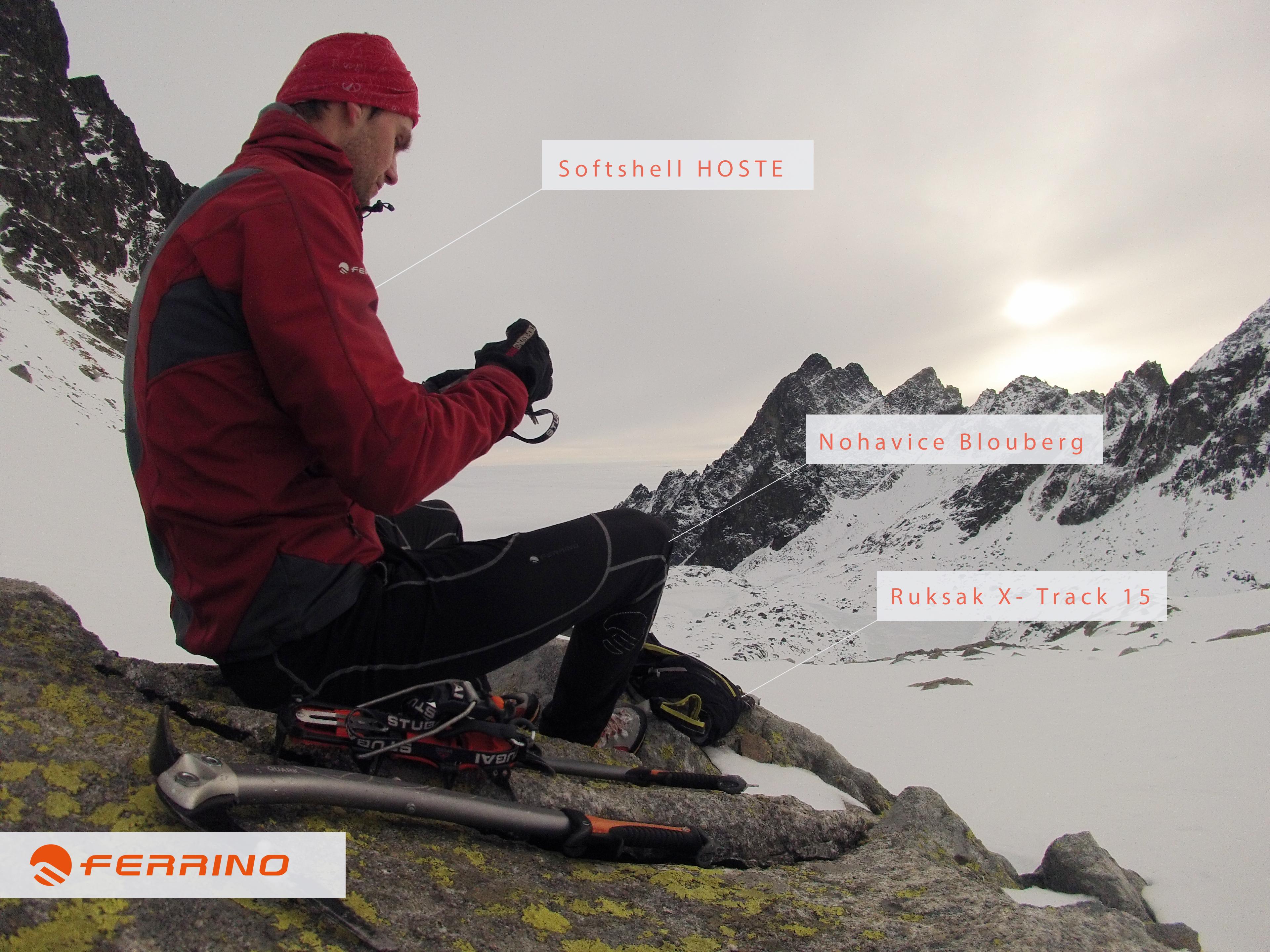 Ferrino ultra zimná ľahká výbava : Softshell bunda Hoste, špičkové elastické nohavice Blouberg, Legendárny veľmi odolný bežecký ruksak X- Track 15